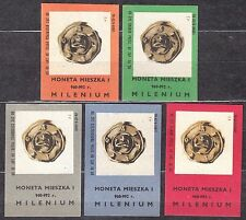 POLAND 1966 Matchbox Label - Cat.Z#682 I/V set, Coin from the time of Mieszko I.