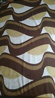 Vintage Fabric - Original unused on a roll 1970s 'RIO' (BROWN & CREAM)