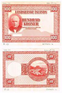 Iceland: Landsbanki Islands 100 Kronur 1928 Pick 30pp Five Progressive Proofs