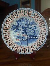 Antique Japanese Arita Imari Platter w/ Hand Incised Scalloped Edge Blue White