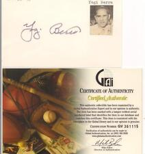 YOGI BERRA SIGNED 3 X 5 WITH STAMP GAI AUTHENTICATED