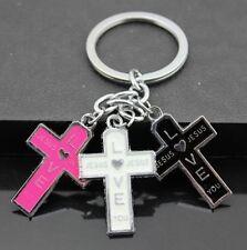 Jesus Love Cross Pendants Key Ring Key Chain Keychain String Cute Gift ♫
