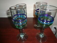 Mexican Handblown Goblets Clear with Blue, Green, Teal Bands Set of 4
