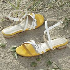 NEW WOMENS MONROE & MAIN YELLOW & WHITE TRIMMED HEEL SANDALS SHOES SIZE 6.5W