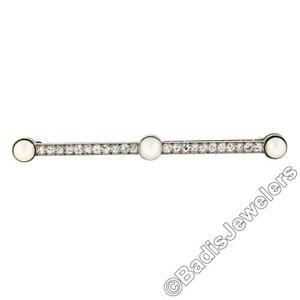 Antique Edwardian Tiffany & Co. Platinum 14k Gold Pearl Diamond Bar Pin Brooch