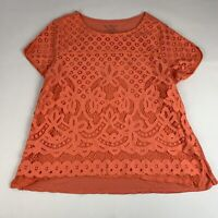 By Chico's Women's Size 2 (Large) Knit Top Orange Lace Overlay Short Sleeve