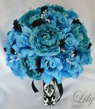 17 Piece Package Silk Flower Wedding Bridal Bouquet Sets TURQUOISE MALIBU BLACK