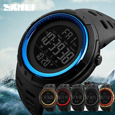 Sport Men's Countdown LED Digital Watch Military Alarm Waterproof Wristwatch AU