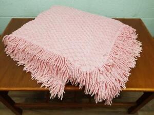 Vintage 60's Pale Pink Candlewick Bedspread Retro Throw Mid Century