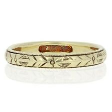 Etched Art Deco Wedding Band 18k Yellow Gold Vintage Floral Ring Size 5 - 5 1/4
