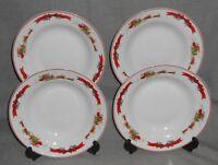 Set (4) MACY'S The Cellar SANTA SLEIGH PATTERN Soup/Cereal Bowls CHRISTMAS CHINA