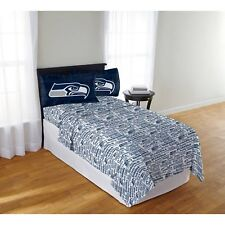 Seattle Seahawks Sheet Set NFL Full Bed Fitted Flat Sheets Boys Team Bedding