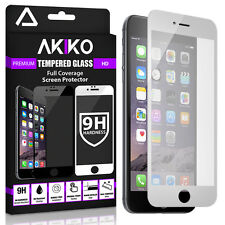 """Akiko iPhone 6 Plus 5.5"""" Tempered Glass Full Cover Screen Protector 2.5D White"""