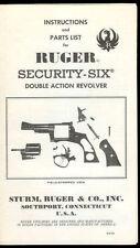 Rare 1970 Sturm/Ruger Security Six Revolver Pistol Owner's Manual Parts List