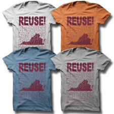 REUSE! Because You Can't Recycle The Planet Virginia T-shirt Men's S Blue Eco