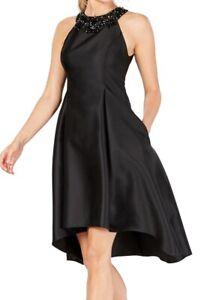 Adrianna Papell Women Dress Black Size 4 A-Line Satin Embellished Neck $179 #215