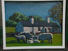 """North Wales oil painting """"lambs and ewes """""""