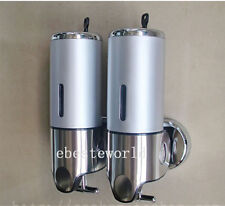 2x500ML Stainless Steel Touch Soap Box Wall Mounted Liquid Shampoo Dispenser
