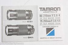 Tamron Adaptall-2 03A 04A Lens Instruction Manual Book - English - Used B96