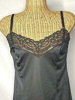 Vintage Greenco Maid Full Slip Size 36 XL Black Nylon Sexy Lace Sissy Pinup