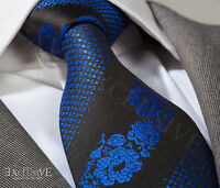 COBALT BLUE & BLACK FLORAL SILK TIE (& HANKY) - ITALIAN DESIGNER