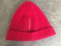 PRADA 100% Wool Beanie Hat Red Made In Italy