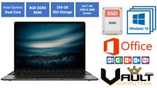 HD Laptop Dual Core, 8GB RAM, 256GB SSD, Windows 10 Home, Microsoft Office