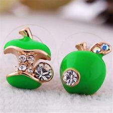 Women Girl Green Pretty Enamel Red Apple Bead Rhinestone Crystal Stud Earrings