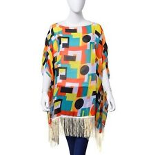 New - Geometric Patterned Multi Coloured Tunic Top One Size
