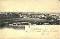 Gruss aus Schleswig Panorama 1899 mit Bahnpost Stempel Zug 810 nach Berlin gel.