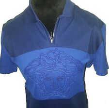 VERSACE blue T-shirt POLO casual zipped MEDUSA embellished $695 NEW XS (Italy)
