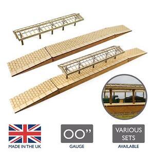 WWS Model Railway Station Platforms & Canopies –OO Gauge 1:76 MDF Building Track