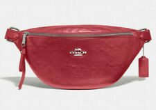 NEW Coach F48741 Belt Bag Washed Red Smooth Calf Signature Leather $328 Retail