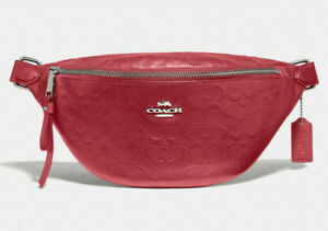 Coach F48741 Belt Bag Washed Red Smooth Calf Signature Leather NWT $328 MSRP FS