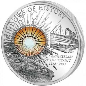 2012 RMS TITANIC Cook Islands Silver $10 Windows of History - Mintage of 1,912
