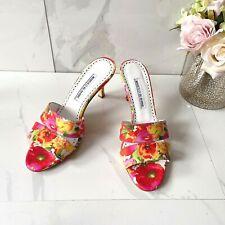 Manolo Blahnik Lacopo Floral Double Band Heel Mule Sandal Slide Pink White EU 38