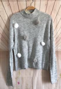 New Lightweight Knit Women's Gray Pullover Crew Neck Sweater Pom Pom Medium M