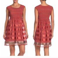 Max studio women's smocked short cap sleeve boho print red mini dress size: M