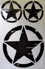 US Army Military  Distressed Star Sticker -3 pieces set - black gloss