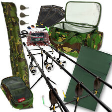 Carp Fishing 3 Rod & Reel Set Up With Camo Carryall + Rod Holdall Tackle & Bait