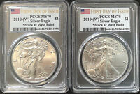2 BEAUTIFUL SILVER EAGLES 2018 MS70  FDOI STRUCK AT WEST POINT ***SPOTLESS***