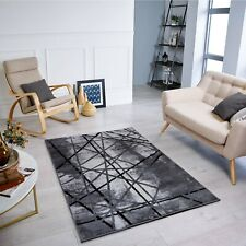 Modern Designer Rug with Curved Lines Shapes/Formes in Grey and Black Capet Rugs