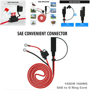 140CM 16AWG SAE to O Ring Cord 12V-24V SAE Adapter Cable Battery Charging Wire