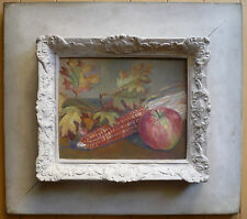 OOSTING, MODERN MODERNIST STILL LIFE, CORN AND RED APPLE FALL THEME, MODERNISM