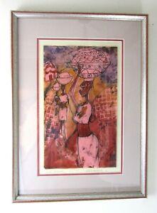 Original Framed Art Fulani Hawkers African Nigerian Women Osogbo Folaranmi GGA