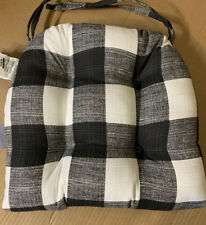 "Pillow Perfect Indoor/Outdoor Black White Checked Seat Cushion New ""Other�"