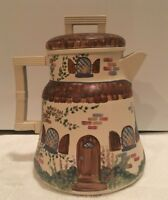 VTG Hand Painted European Style Home With Lovely Garden By Zimews Tin Tea Pot