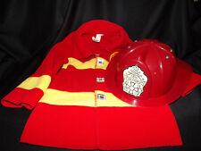 UNBRANDED FIREFIGHTER COAT MICRO-FLEECE RED PLASTIC FIREFIGHTER HELMET 18MO