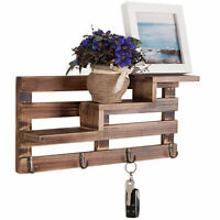 MyGift Rustic Wall Mounted Entryway Burnt Wood Display Shelves with 4 Key Hooks