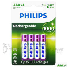 4 x Philips Rechargeable AAA batteries 1000 mAh Ni-MH 1.2V HR03 MICRO Pack of 4